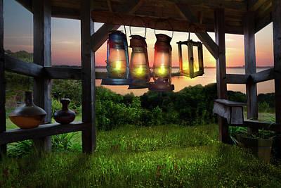 Oil Lamp Photograph - Lanterns At Nightfall by Debra and Dave Vanderlaan