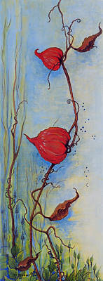 Tendrils Painting - Lanterns by Dawn Broom