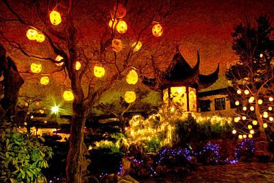 Photograph - Lanterns In Chinese Garden by Julius Reque