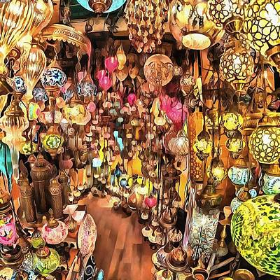 Painting - Lanterns, Lamps And Lighting Of The Bazaar by Taiche Acrylic Art