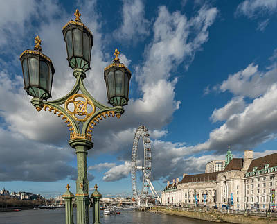 Lanterns On Westminster Art Print by Adrian Evans