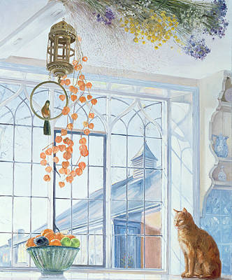 Window Sill Painting - Lanterns by Timothy Easton