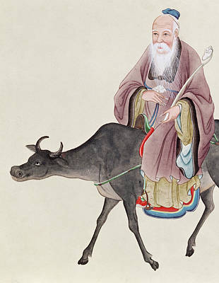White Beard Painting - Lao Tzu On His Buffalo by Chinese School