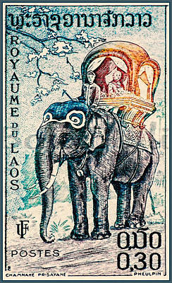 Bamboo Chair Painting - Laos Elephant Rider by Lanjee Chee