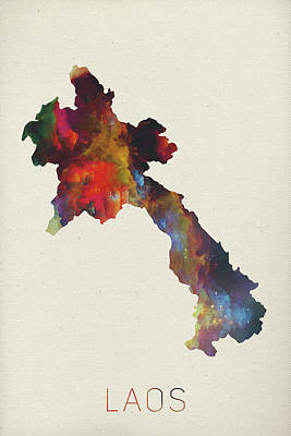Lao Wall Art - Mixed Media - Laos Watercolor Map by Design Turnpike
