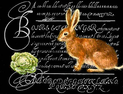 Lettuce Mixed Media - Lapin Et La Laitue by John K Woodruff