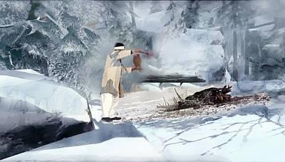 White Painting - Lapland 5 by Jani Heinonen