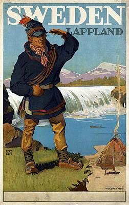 Photograph - Lappland, Sweden - Retro Travel Poster - Vintage Poster by Studio Grafiikka