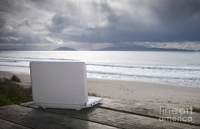 Laptop Computer At Beach Art Print by Dave & Les Jacobs
