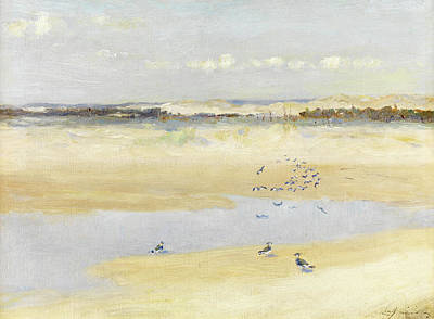 Lapwing Painting - Lapwings By The Sea by William James Laidlay