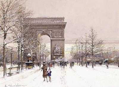 Arc De Triomphe Painting - L'arc De Triomphe by Eugene Galien-Laloue