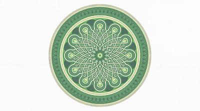 Drawing - Large Art Prints - Good Luck - Green Mandala Art by Wall Art Prints