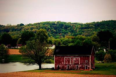 Photograph - Large Barn And Pond by R A W M
