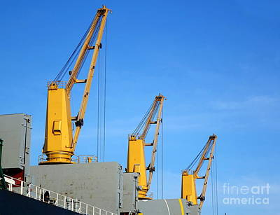 Photograph - Large Cargo Vessel With Loading Cranes by Yali Shi