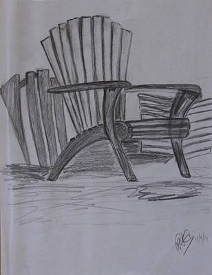 Large Chair On The Lawn Art Print by Roger Cummiskey