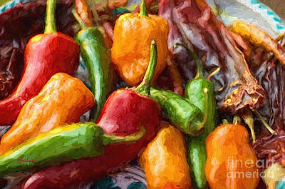 Large Chili Peppers Art Print