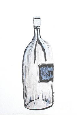 Large Clear Wine Bottle - Watercolor Painting Art Print