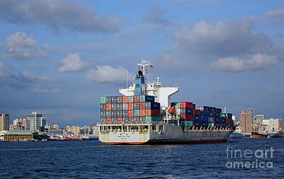 Photograph - Large Container Ship Enters Kaohsiung Port by Yali Shi