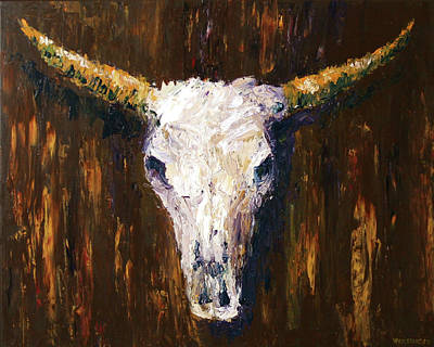 Mark Webster Painting - Large Cow Skull Acrylic Palette Knife Painting by Mark Webster