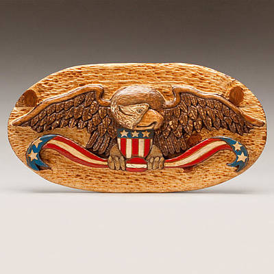 Folk Art Woodcarving Sculpture - Large Eagle by James Neill