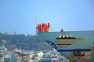 Photograph - Large Ferry Boat Leaves Kaohsiung Port by Yali Shi