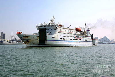 Photograph - Large Ferry Ship Leaves Kaohsiung Port by Yali Shi