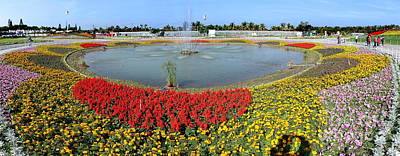Photograph - Large Fountain Surrounded By Flower Beds by Yali Shi