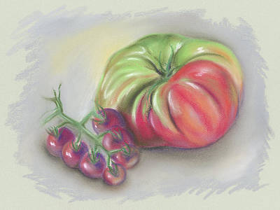 Pastel - Large Heirloom Tomato With Purple Cherry Tomatoes by MM Anderson