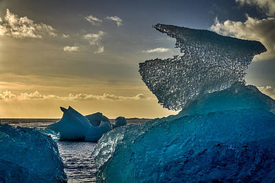 Photograph - Large Icebergs At Dawn - Iceland by Stuart Litoff