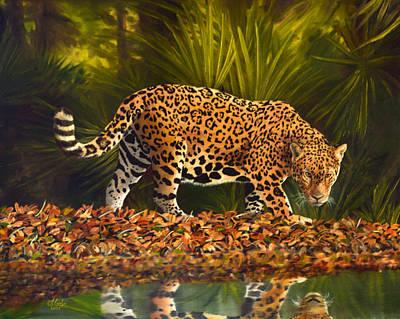 Big Cat Painting - Large Jaguar Cat by Vincent Keele