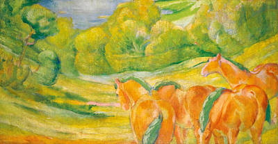 Franz Marc Painting - Large Landscape I by Franz Marc
