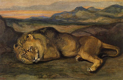 Glen Painting - Large Lion by Antoine Louis Barye
