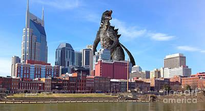 Large Lizard Seen In Nashville Tennessee Art Print by Garland Johnson