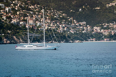 Summer Photograph - Large Luxury Sailboat Anchored Off The Coast Of Monaco by Dani Prints and Images