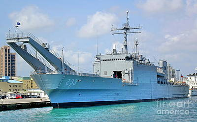 Photograph - Large Naval Ship In Kaohsiung Port by Yali Shi