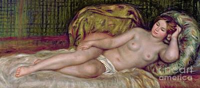 Bed Painting - Large Nude by Pierre Auguste Renoir