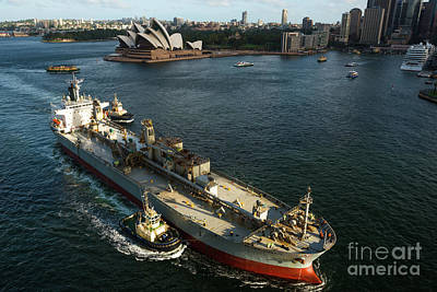 Photograph - Large Oil Tanker Going Under Sydney Harbour Bridge by Andrew Michael