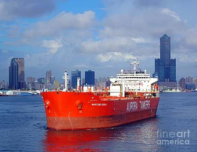 Photograph - Large Oil Tanker Leaves Kaohsiung Port by Yali Shi