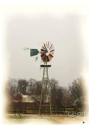 Large Old Windmill Print by Anthony Djordjevic