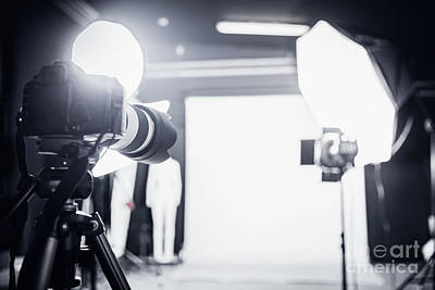 Lamps Photograph - Large Photo Studio With Professional Lighting. by Michal Bednarek