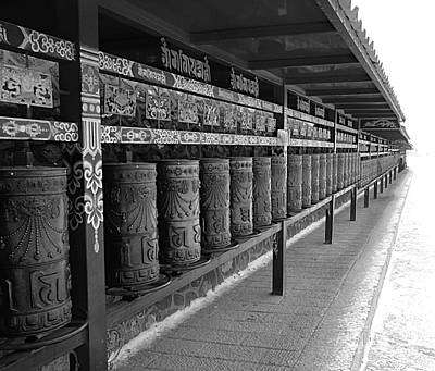 Old Chinese Man Painting - Large Prayer Wheels In Tibet - B/w by Birgit Moldenhauer