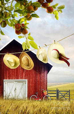 Photograph - Large Red Barn With Hats On Clothesline In Field Of Wheat by Sandra Cunningham