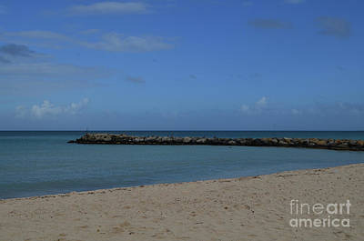 Photograph - Large Rock Jetty On The Coast Of Aruba by DejaVu Designs