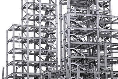 Art Print featuring the photograph Large Scale Construction Project With Steel Girders by Yali Shi