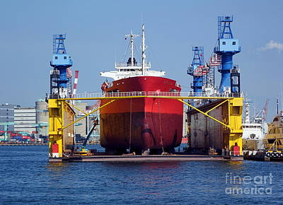 Photograph - Large Shipyard Operation by Yali Shi