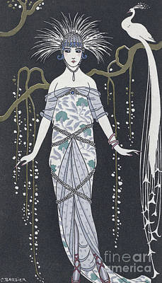 Art Deco Drawing -  Large Silver Brocade Evening Dress by Georges Barbier