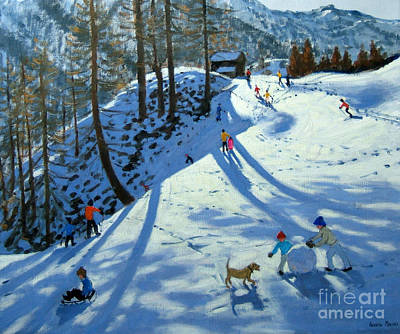 Ski Resort Painting - Large Snowball Zermatt by Andrew Macara