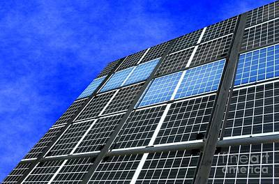 Photograph - Large Solar Panel Installation And Blue Sky by Yali Shi