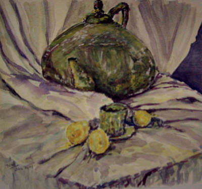 Painting - Large Tea Pot With Small Cup by Naini Kumar
