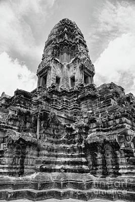 Photograph - Large Temple Angkor Wat Bw Cambodia  by Chuck Kuhn